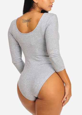 Casual Grey Bodysuit