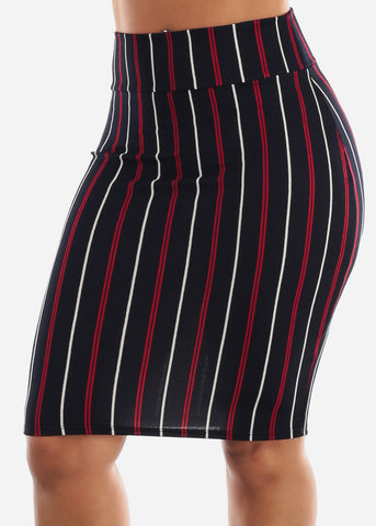 Image of Stripe Navy Pencil Skirt