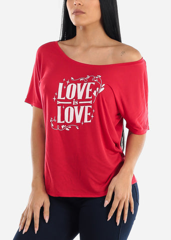 "Red Graphic Tee ""Love Is Love"""