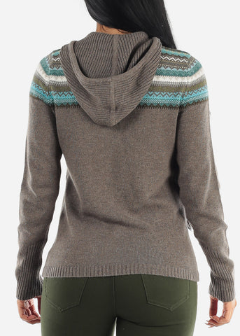 Image of Zip Up Grey Warm Knit Hoody Sweater
