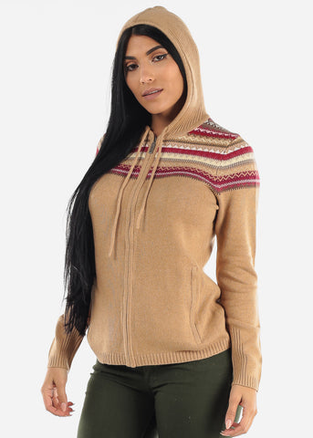 Image of Zip Up Brown Warm Knit Hoody Sweater