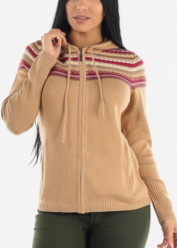 Zip Up Brown Warm Knit Hoody Sweater