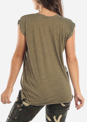 "Olive Sleeveless Top ""Happiness Is Free"""