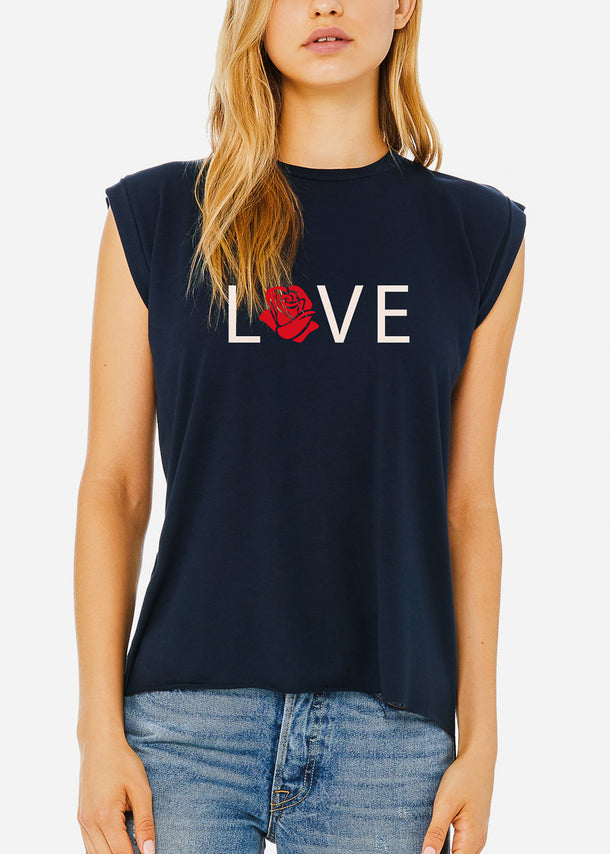 "Navy Graphic Tee ""Love"""