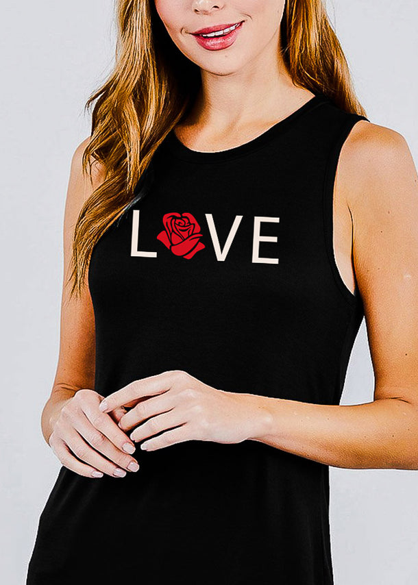 "Black Graphic Top ""Love"""