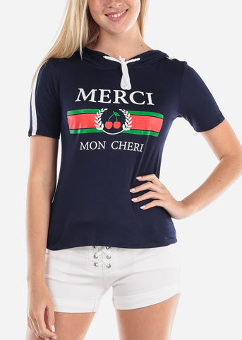 Women's Junior Ladies Cute Casual Hooded Merci Mon Cheri Graphic Print Navy Stretchy Top With Hood