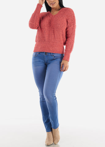 Red Soft Knit Sweater Top