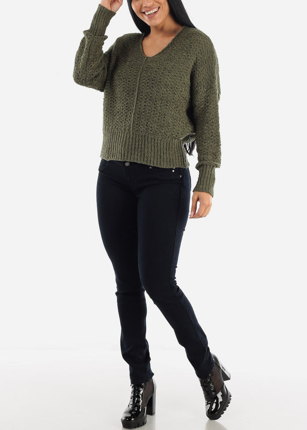 Olive Soft Knit Sweater Top