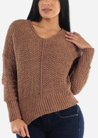 Mocha Soft Knit Sweater Top