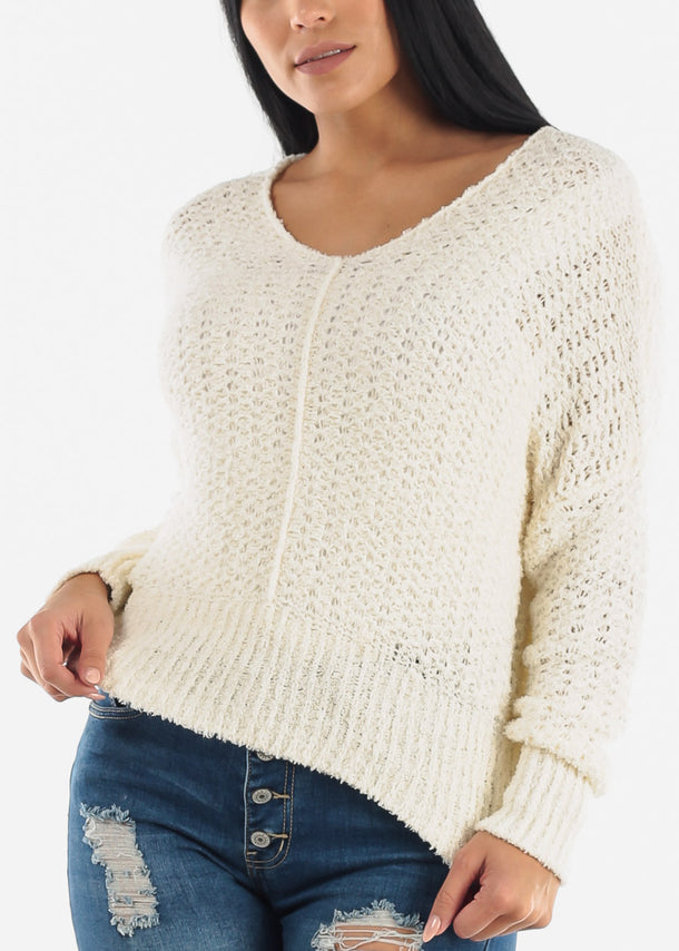 White Soft Knit Sweater Top