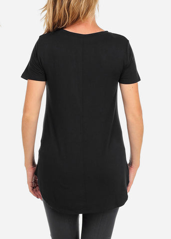 Short Sleeve Pran.Gry Black Basic Graphic Top For Pregnant Women