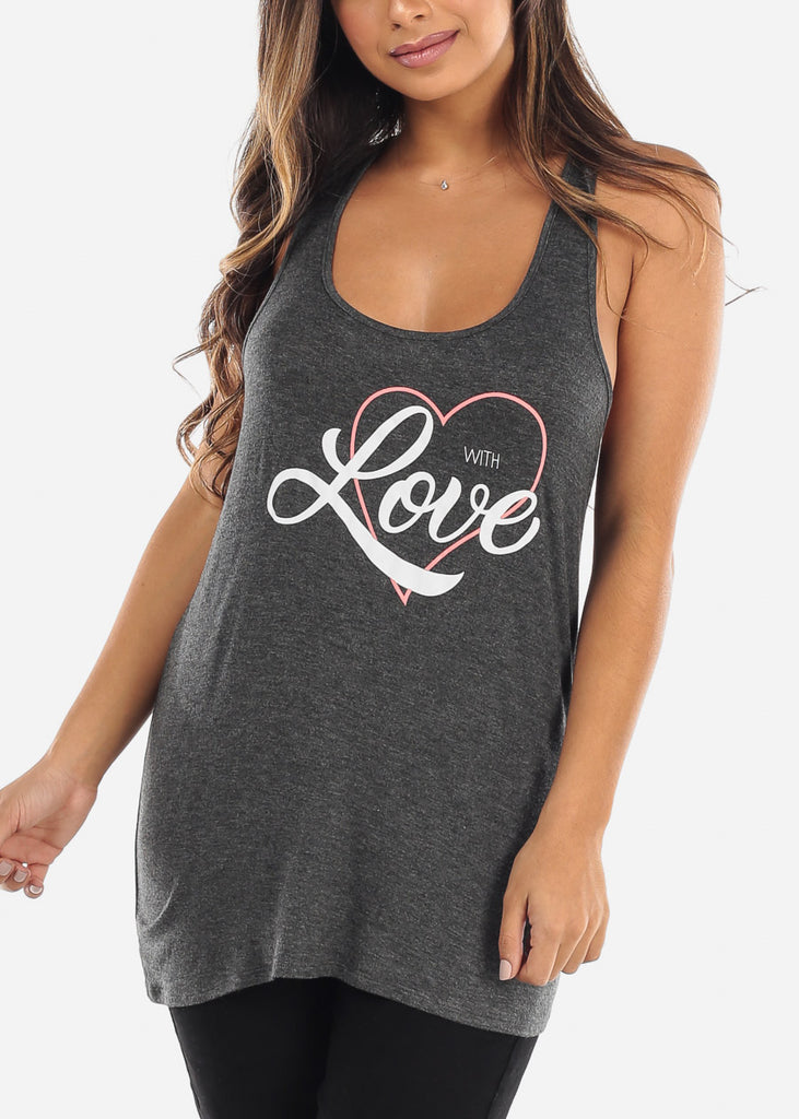 Zipper Back 'With Love' Grey Tank Top
