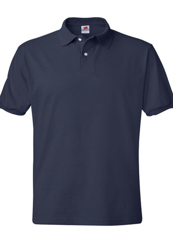 Image of Men's Hanes Ecosmart 50/50 Jersey Sport Shirt Navy Polo