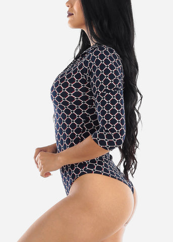 Geometric Printed Navy Bodysuit