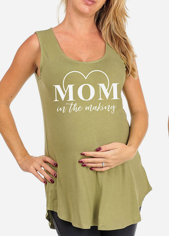 Mom in the Making Basic Graphic Green Top For Maternity Pregnant Women