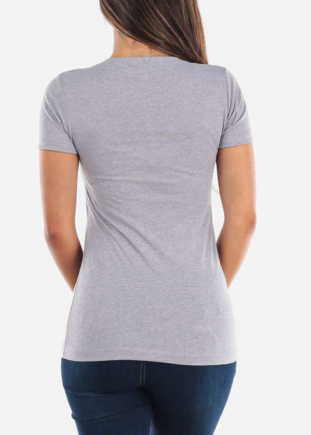 Women's V-Neck Heather Grey Tshirt