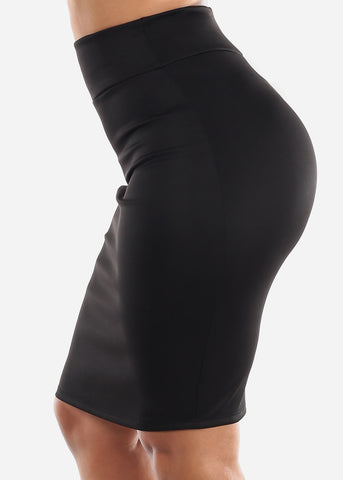 Image of Black High Waisted Pencil Skirt
