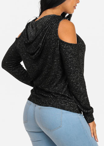 Image of Charcoal Sweater Top W Hood