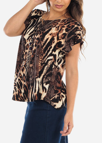 Image of Animal Print Top w Necklace