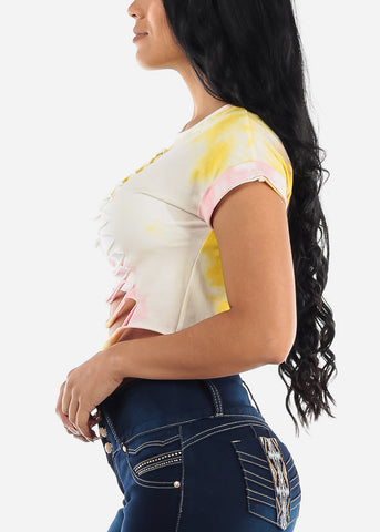 Image of Yellow Tie Dye Cut Out Crop Top