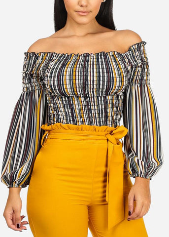 Multicolor Shirr Stripe Off Shoulder Blouse