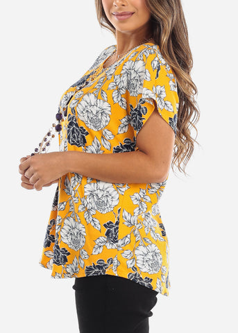 Floral Mustard Blouse With Necklace