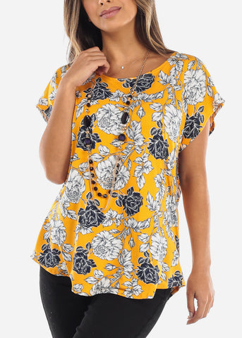Image of Floral Mustard Blouse With Necklace
