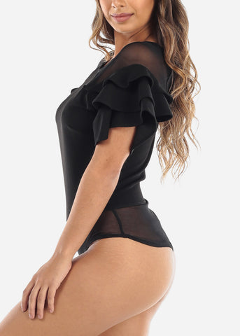 Image of Black Ruffle Sleeve Mesh Detail Bodysuit