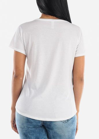 "Image of White Graphic Top ""Unshy"""