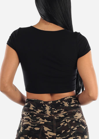 "Image of Graphic Black Crop Top ""Unshy"""
