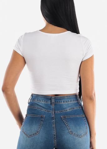 "Image of White Graphic Crop Top ""Unshy"""