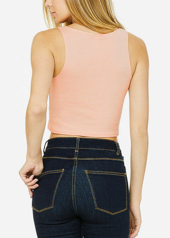"Peach Cropped Tank Top ""Offline"""
