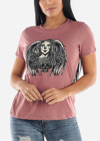 "Image of Mauve Graphic T-Shirt ""Angel Skull"""