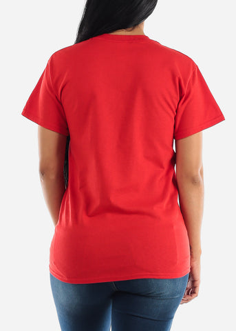 "Oversized Red Graphic T-Shirt ""Keep Your Distance"""
