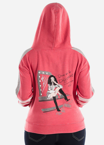 "Red Graphic Hoodie ""Dare To Be Different"""