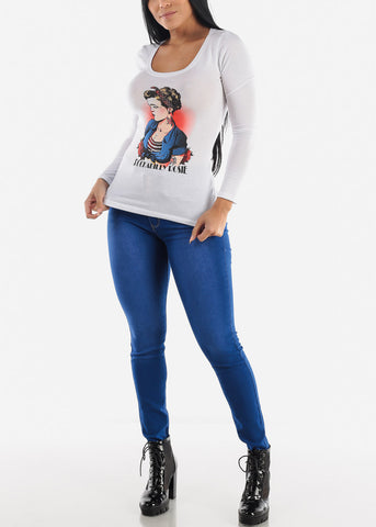 "White Graphic Long Sleeve Top ""Rockabilly Rosie"""