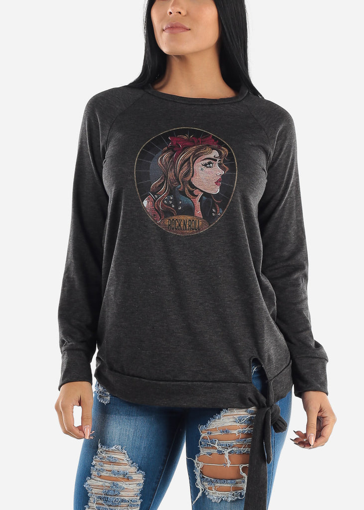 Charcoal Graphic Pullover Top