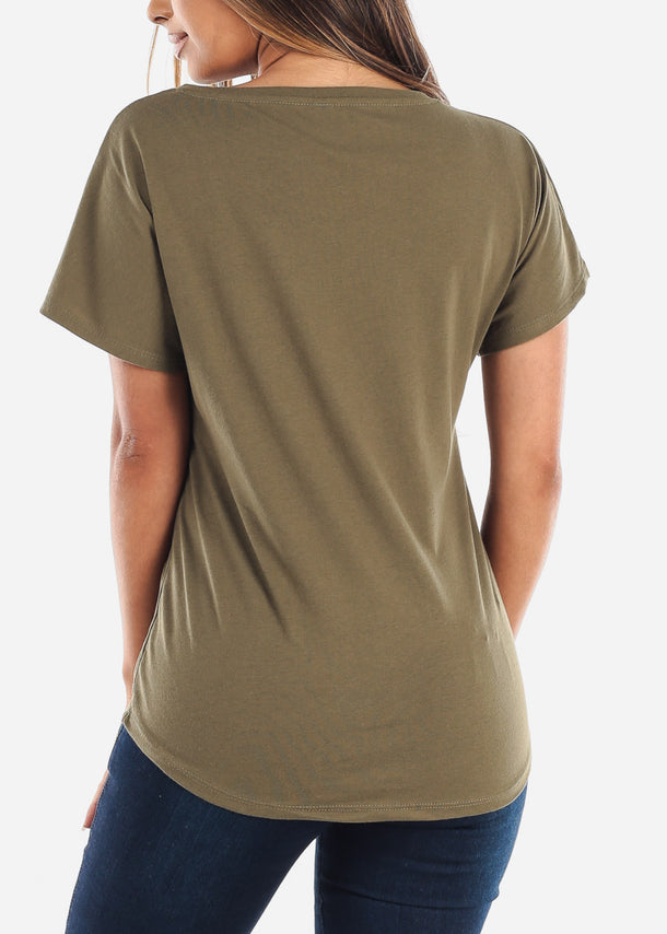 Scoop Neck Dolman Light Military Green Tshirt
