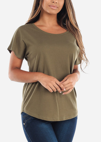 Image of Scoop Neck Dolman Light Military Green Tshirt