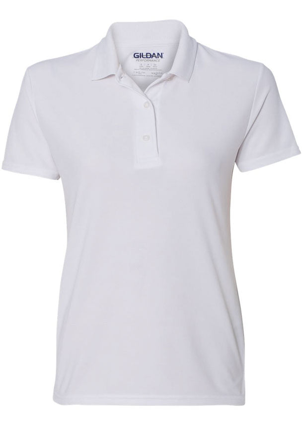 Women's Gildan White Polo Shirt