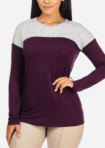 Image of Casual 2 Tone Purple Top