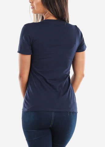 Image of Crew Neck Basic Navy Tee