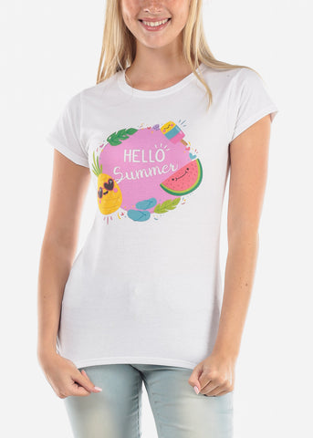 Women's Junior Ladies Hello Summer Graphic Print Casual Short Sleeve Solid White Round Neckline White Tshirt