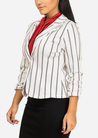 Image of White And Black Stripe Stretchy Blazer