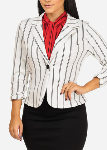White And Black Stripe Stretchy Blazer