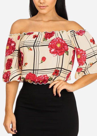 Floral Off Shoulder Ivory Crop Top