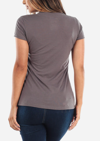 Image of Crew Neck Basic Charcoal Tshirt