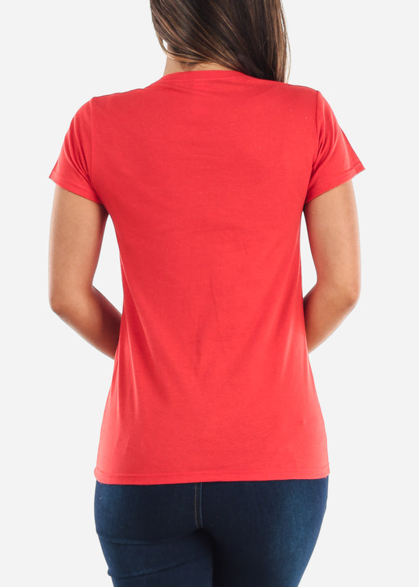 Scoop Neck Basic Softstyle Red Tshirt