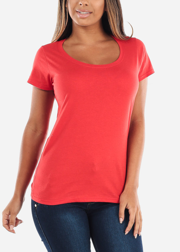 Cheap Scoop Neck Basic Softstyle Red Tshirt