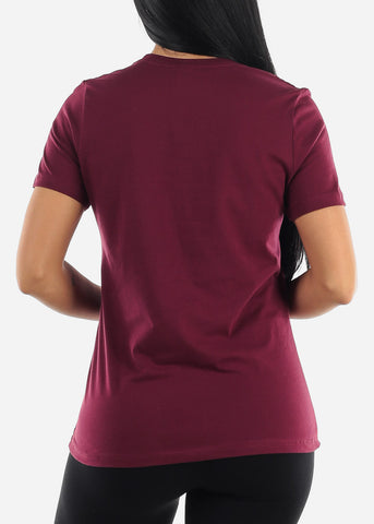 Image of Burgundy Crew Neck Tshirt